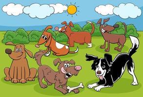 dessin animé, chiens, un, chiots, caractères, groupe vecteur