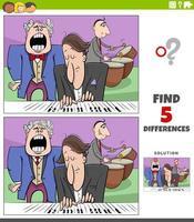 tâche éducative des différences pour les enfants avec un groupe de musique vecteur