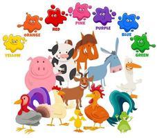 couleurs de base pour les enfants avec un groupe de personnages d'animaux de la ferme vecteur