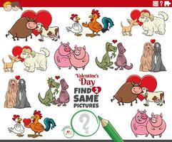 trouver deux mêmes couples d'animaux de dessin animé à la saint valentin vecteur