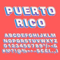 ensemble d'alphabet de vecteur 3d vintage puerto rico