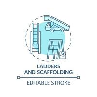 Icône de concept d'échelles et d'échafaudages