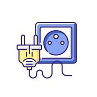 prise électrique pour l'icône de couleur rgb tech vecteur