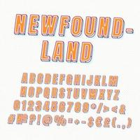 ensemble d'alphabet de vecteur 3d vintage terre-neuve