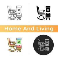 icône de fauteuils à bascule et poufs vecteur