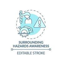icône de concept de sensibilisation aux dangers environnants