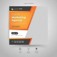 agence de marketing numérique, modèle de flyer carré vecteur