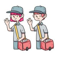 illustration de dessin animé mignon livreur de nourriture