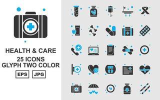 Pack d'icônes bicolores Premium Health and Care Glyph 25 vecteur