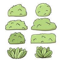 dessin animé différent type de buissons et herbe illustration de dessin animé mignon vecteur