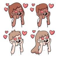 coeur de gens dans la réaction d'amour mis illustration de dessin animé mignon vecteur
