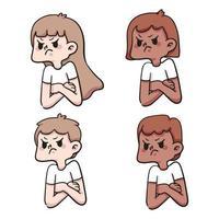 gens tristes mis illustration de dessin animé mignon vecteur