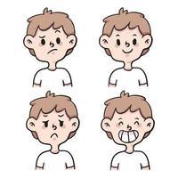 dessin animé différent type d'émotion mis illustration de dessin animé mignon