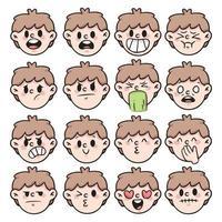 dessin animé différent type d'émotion mis illustration de dessin animé mignon vecteur