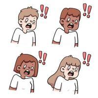 les gens choqués réaction mis illustration de dessin animé mignon vecteur
