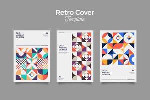 ensemble de trois arrière-plans de couverture de style rétro abstrait vecteur