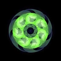 spirographe cercle abstrait couleur blanc vert