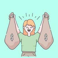 fille célébrant tenant des tonnes d & # 39; illustration d & # 39; argent