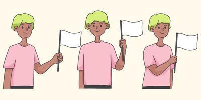 personnage de dessin animé mignon agitant le concept de drapeau