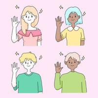 personnes agitant la main une illustration de voeux.