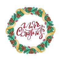 guirlande de vecteur de Noël réaliste avec des baies rouges sur les branches à feuilles persistantes et le texte joyeux Noël. illustration de Noël isolé pour carte de voeux