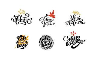 ensemble de phrases d'automne de calligraphie vectorielle avec des éléments d'automne. illustration isolée de lettrage dessiné à la main pour carte de voeux. parfait pour les vacances, jour de Thanksgiving