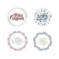 vector set collection de couronnes de Noël dessinées à la main avec texte de Noël. branches de sapin, baies rouges, feuilles et autres éléments. cadre rond pour carte de Noël de conception d'hiver, affiche, bannière