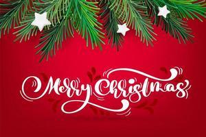 vecteur nouvel an et guirlande de Noël avec texte joyeux Noël calligraphie blanche. branches vertes à feuilles persistantes d'hiver traditionnelles et étoiles blanches, isolées sur fond rouge. pour carte de voeux. conception de vacances rétro joyeux noël