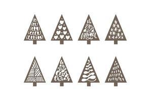 sapin de Noël mis au laser mignon. papier mignon doodle décor de vacances dessiné à la main. groupe de sapin. bois de dessin abstrait doodle. ligne simple illustration vectorielle art design vecteur