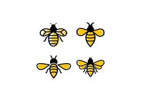 jeu de conception icône abeille vecteur