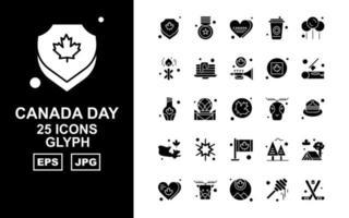 Pack d'icônes de glyphes de la fête du Canada 25 premium vecteur