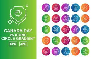 25 pack d'icônes dégradé de cercle de jour du canada