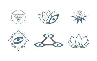 ensemble de six icônes de yoga vecteur