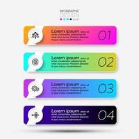4 étapes de design carré dans un nouveau style, utilisées pour divers événements, marketing, publicité, communication. infographie. vecteur