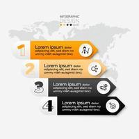 ligne carrée 4 étapes de travail sont utilisées pour décrire des présentations, communiquer des informations par la publicité. infographie.