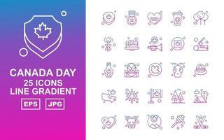25 pack d'icônes dégradé de ligne de jour du canada premium