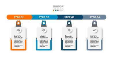 4 étapes de travail de la boîte d'affichage rectangulaire, le style d'étiquette peut être utilisé pour une variété d'applications. infographie. vecteur