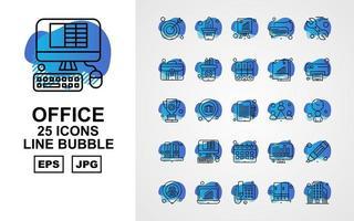 Pack d'icônes à bulles Premium Office II Line 25 vecteur