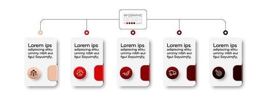 une infographie en forme de boîte rectangulaire présente des informations dans un style organisationnel pour décrire les processus de travail. conception de vecteur.