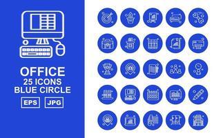 25 pack d'icônes cercle bleu premium office ii vecteur