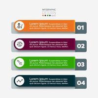 4 le flux de travail décrit par le format de l'étiquette s'applique à l'organisation de présentation. infographie vectorielle. vecteur