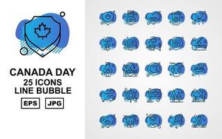 25 pack d'icônes de bulles de la ligne de jour du canada premium