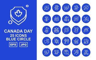 25 pack d'icônes de cercle bleu de la fête du canada premium