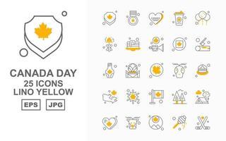 25 Pack d'icônes jaune premium Canada Day Lino