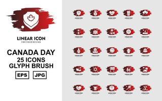25 pack d'icônes de pinceaux glyphes premium canada day