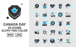 25 Pack d'icônes bicolores Premium Canada Day vecteur