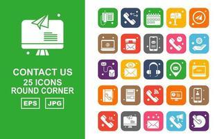 25 pack d'icônes de coin rond premium Contactez-nous vecteur