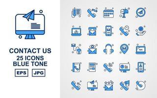 25 pack d'icônes de ton bleu premium Contactez-nous vecteur