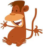 personnage de dessin animé animal comique singe heureux vecteur