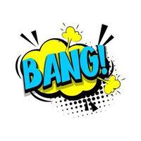 lettrage bang, boom. texte comique pop art vecteur